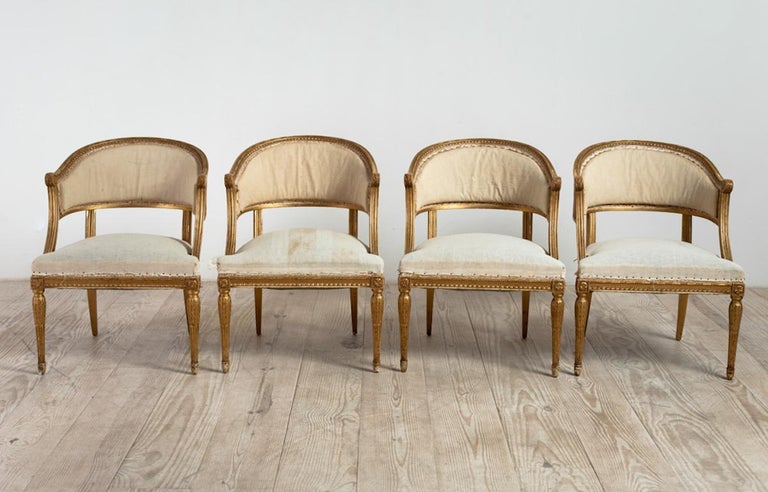 18th Century Giltwood Gustavian Bucket Chairs, Set of 4, Sweden, Circa 1790-1800 For Sale 5