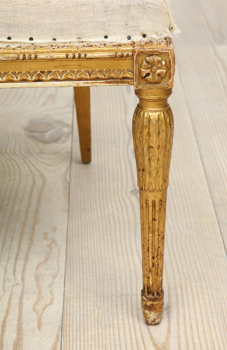 18th Century Giltwood Gustavian Bucket Chairs, Set of 4, Sweden, Circa 1790-1800 For Sale 6