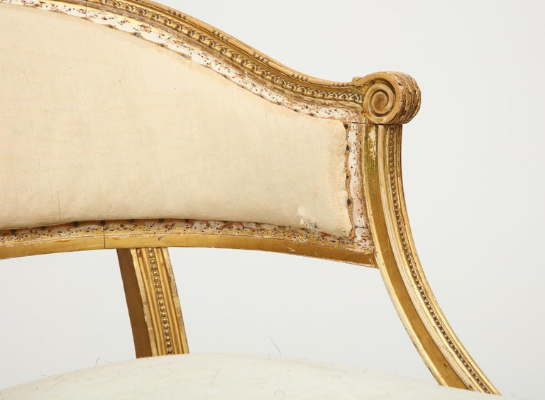 18th Century Giltwood Gustavian Bucket Chairs, Set of 4, Sweden, Circa 1790-1800 For Sale 7