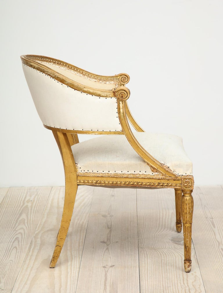 18th Century Giltwood Gustavian Bucket Chairs, Set of 4, Sweden, Circa 1790-1800 For Sale 12