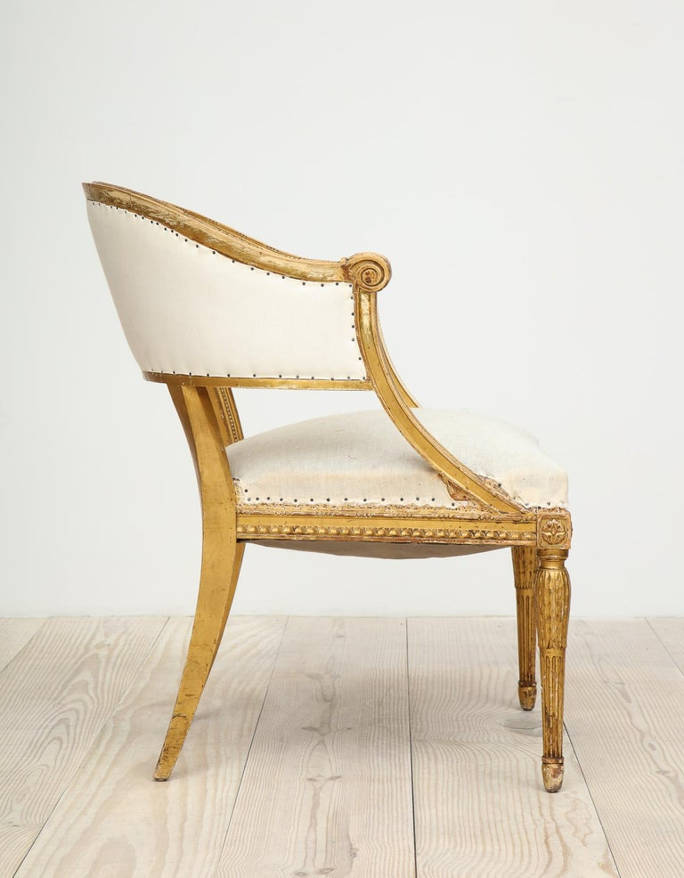 18th Century Giltwood Gustavian Bucket Chairs, Set of 4, Sweden, Circa 1790-1800 For Sale 13