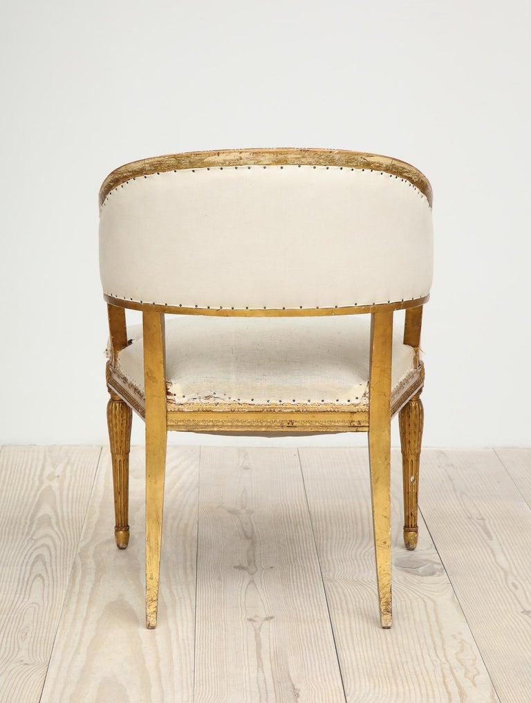 18th Century Giltwood Gustavian Bucket Chairs, Set of 4, Sweden, Circa 1790-1800 For Sale 14