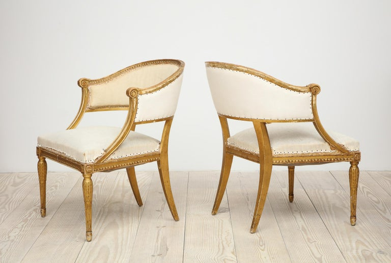 Hand-Carved 18th Century Giltwood Gustavian Bucket Chairs, Set of 4, Sweden, Circa 1790-1800 For Sale
