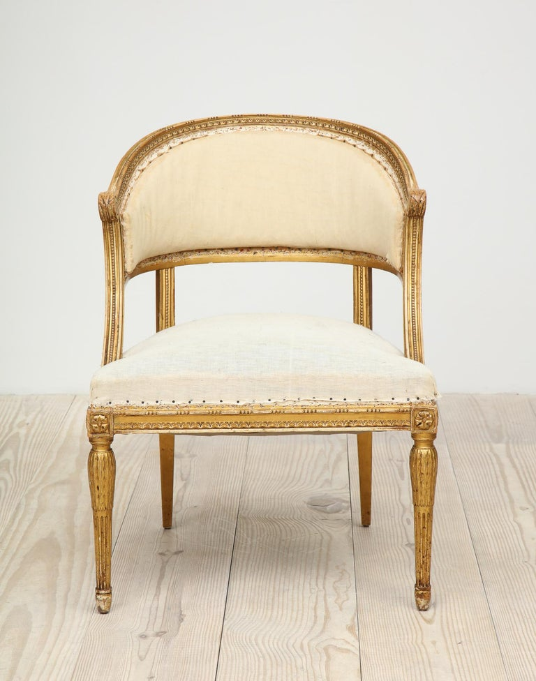 18th Century and Earlier 18th Century Gilt Wood Gustavian Bucket Armchairs, Set of 4, Swedish, circa 1790 For Sale