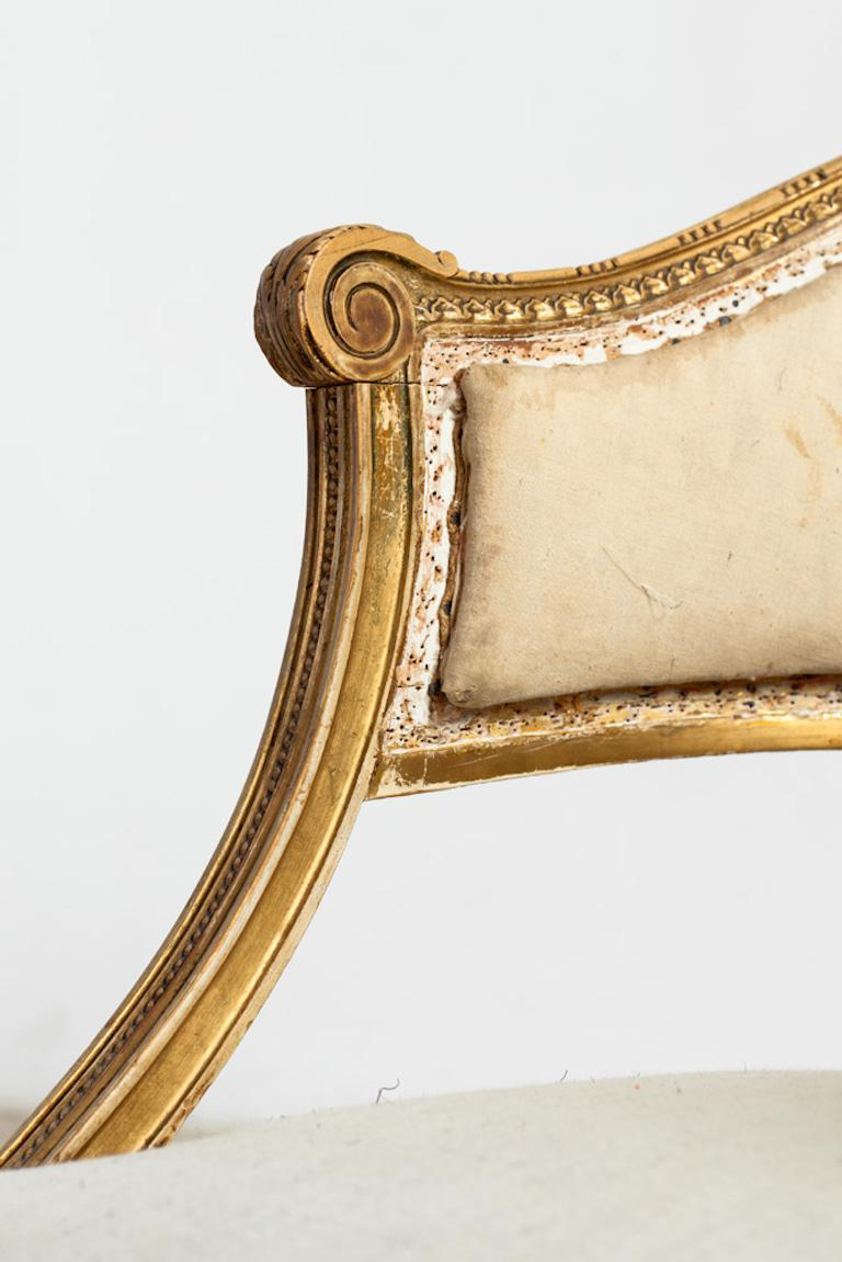 Giltwood 18th Century Gilt Wood Gustavian Bucket Armchairs, Set of 4, Swedish, circa 1790 For Sale
