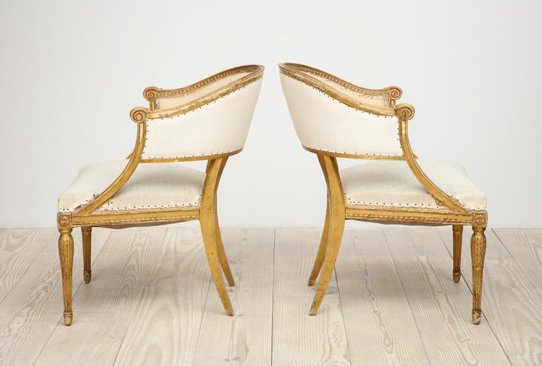 18th Century Giltwood Gustavian Bucket Chairs, Set of 4, Sweden, Circa 1790-1800 For Sale 3