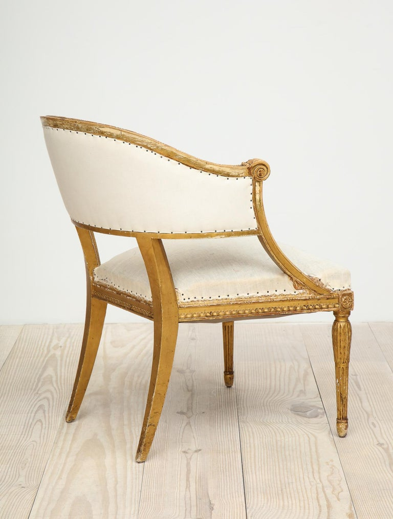 18th Century Giltwood Gustavian Bucket Chairs, Set of 4, Sweden, Circa 1790-1800 For Sale 4