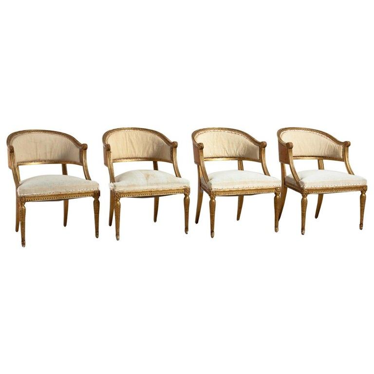 18th Century Giltwood Gustavian Bucket Chairs, Set of 4, Sweden, Circa 1790-1800 For Sale
