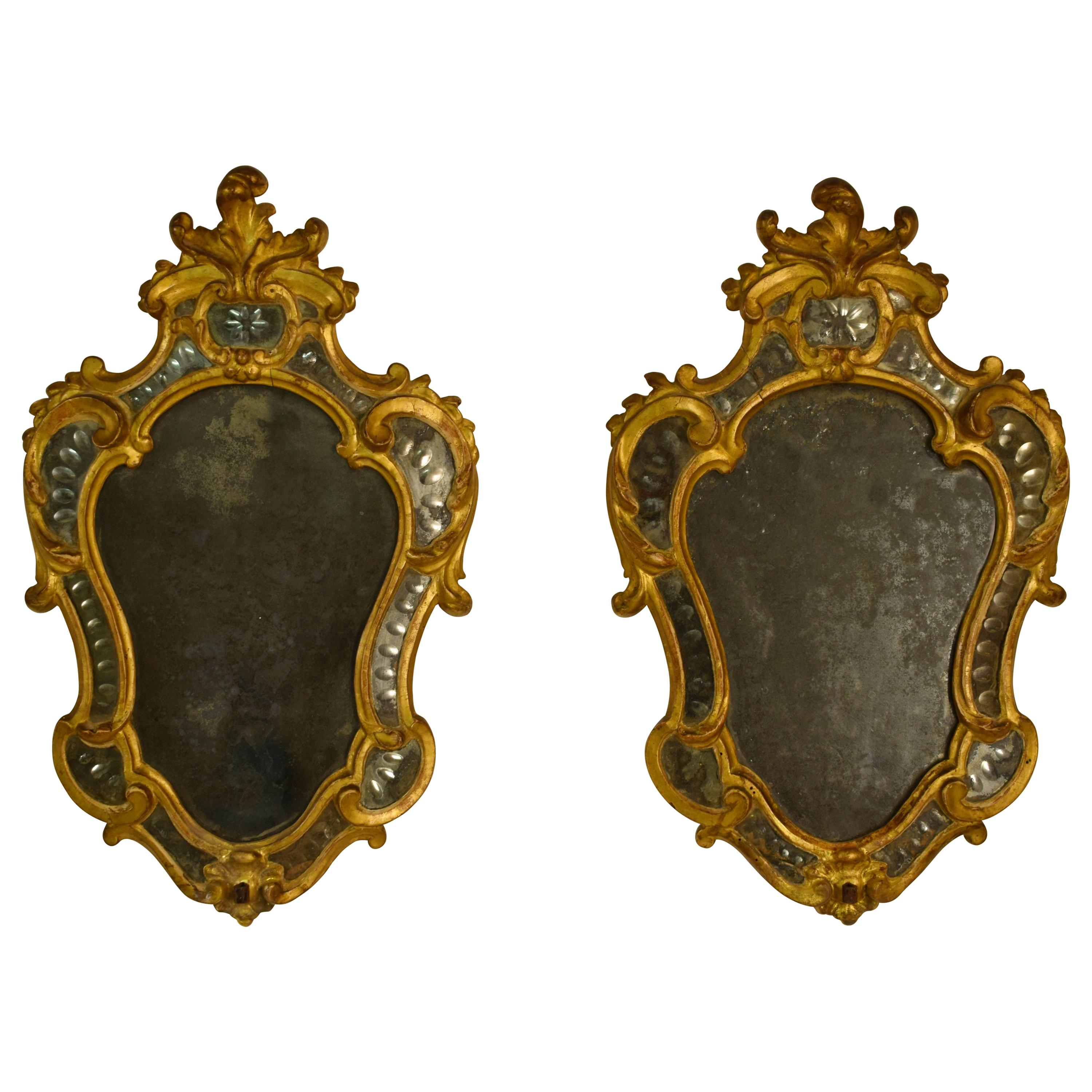 18th Century, Giltwood Pair of Italian Louis XV Candle Wall Sconce with Mirror