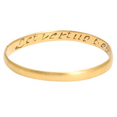 """18th Century Gold Posy Ring """"Let Virtue Be Thy Guide"""""""