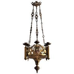 18. Jahrhundert Kirche im Gotischen Stil Vergoldete Bronze Kerzen Kronleuchter Heiligtum Lampe
