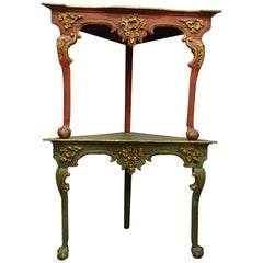 18th Consoles Green and Red Baroque Spanish Couple of Corner Carved