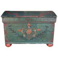 18th Century Green Floral Painted Italian Blanket Chest, 1787