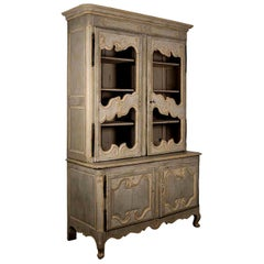 18th Century Green-Gray Painted French Buffet Deux-Corps