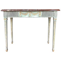 18th Century Green Swedish Gustavian Console Table, Freestanding Giltwood Table