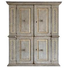 18th Century Grey-Brown Italian Armoire, Antique Renaissance Walnut Closet