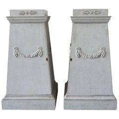 18th Century Grey Swedish Gustavian Pedestals, Neoclassical Pinewood Commodes