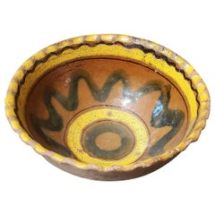 18th Century Guatemalan Glazed Ceramic Bowl, Brown with Yellow and Black Accents