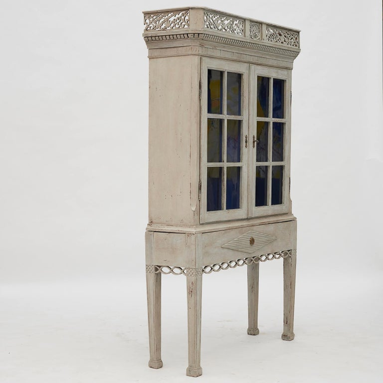Danish 18th Century Gustavian 2-Door Cabinet with Beautiful Blue Color Inside For Sale