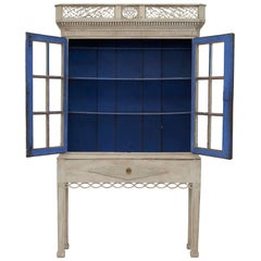 18th Century Gustavian 2-Door Cabinet with Beautiful Blue Color Inside