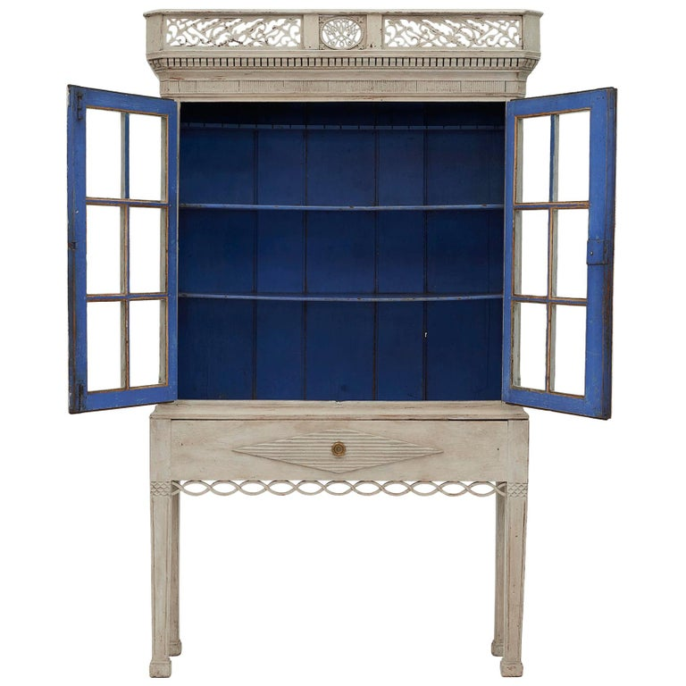 18th Century Gustavian 2-Door Cabinet with Beautiful Blue Color Inside For Sale