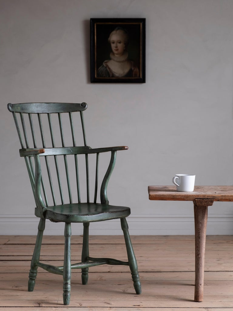 18th Century Gustavian Comb Back Chair For Sale 5