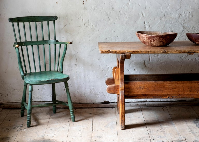 Swedish 18th Century Gustavian Comb Back Chair For Sale