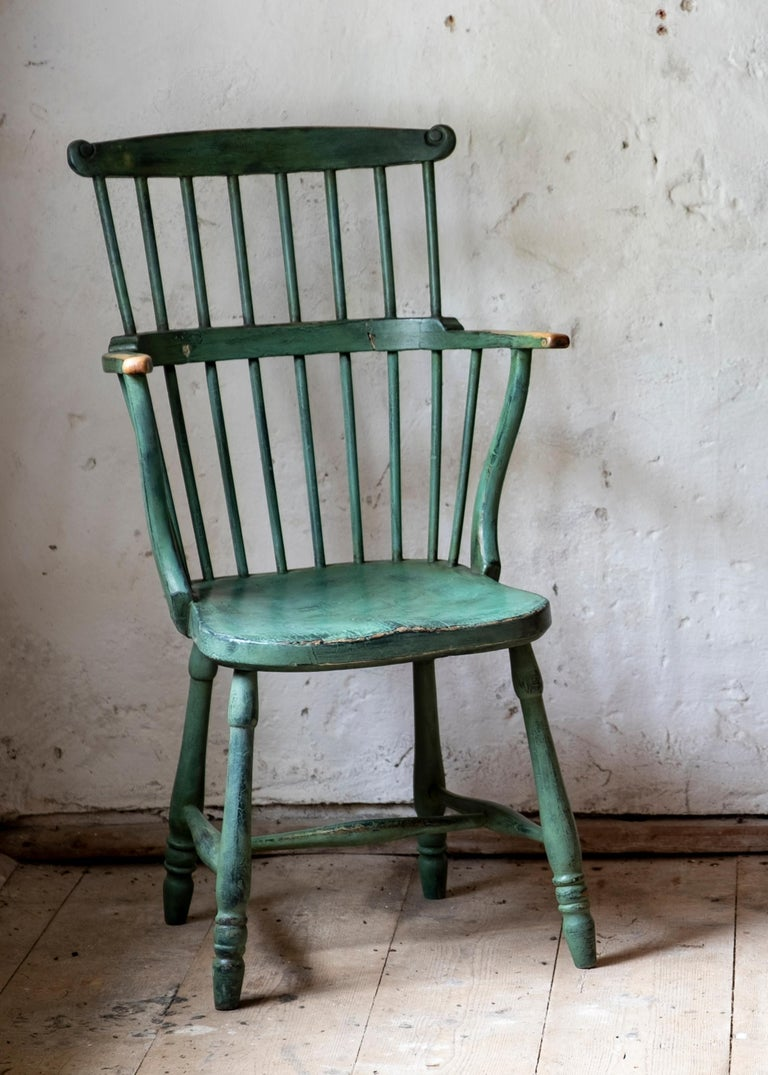 18th Century Gustavian Comb Back Chair In Good Condition For Sale In Helsingborg, SE