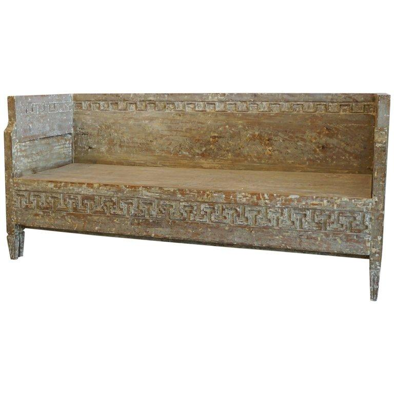 18th Century Lit Du Jour, Swedish Gustavian Pinewood Day Bed, Antique Wood Sofa For Sale 1