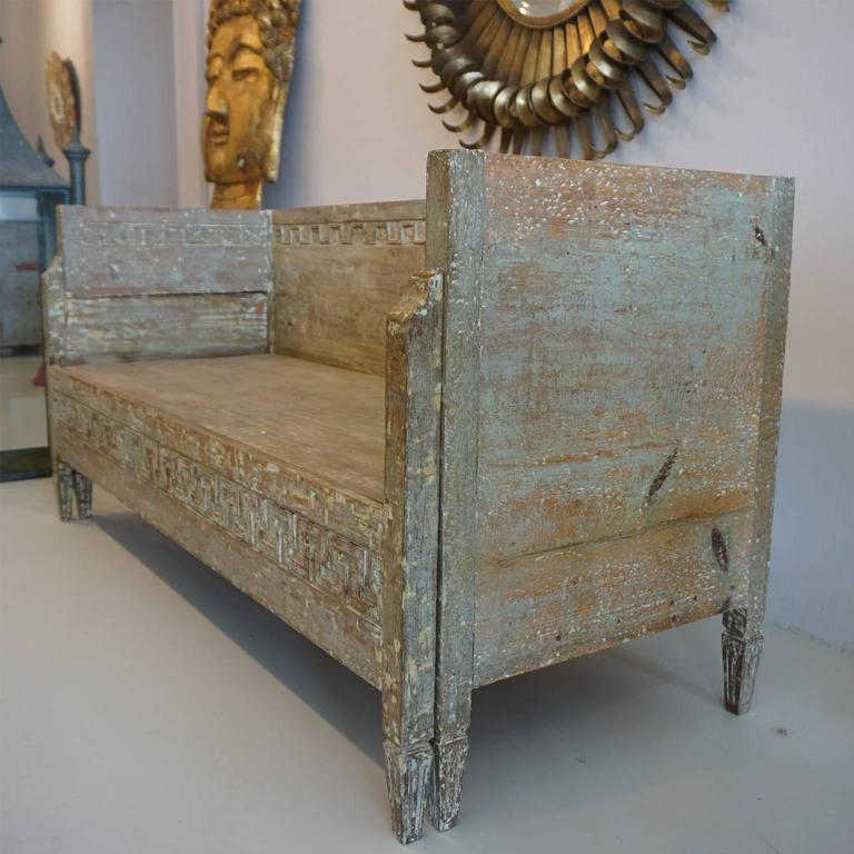 18th Century Lit Du Jour, Swedish Gustavian Pinewood Day Bed, Antique Wood Sofa For Sale 3