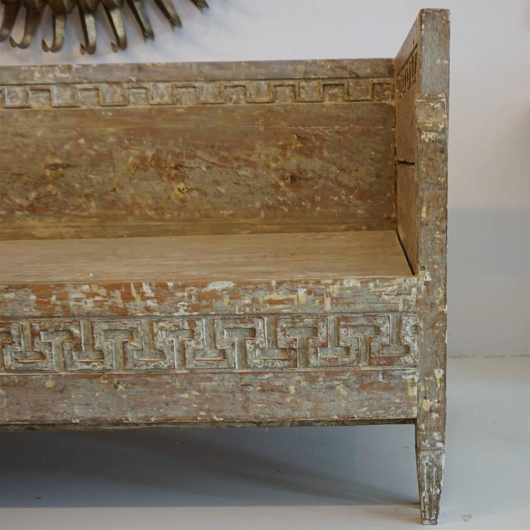 18th Century Lit Du Jour, Swedish Gustavian Pinewood Day Bed, Antique Wood Sofa For Sale 4