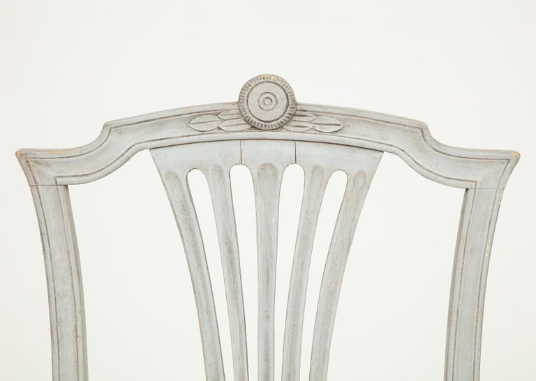 18th Century Gustavian Dining Chairs, Set of 10, Swedish, circa 1790 For Sale 4