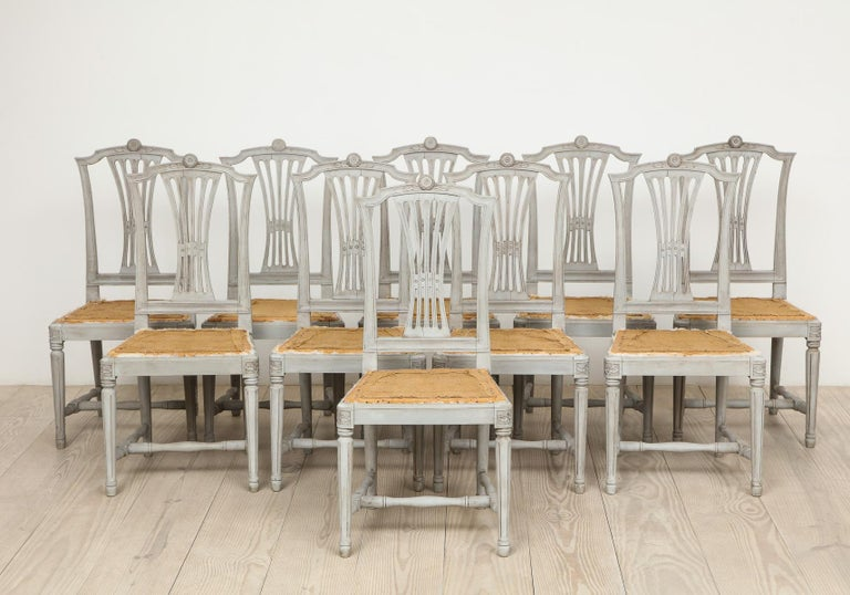 18th Century Gustavian Dining Chairs, Set of 10, Swedish, circa 1790 For Sale 6