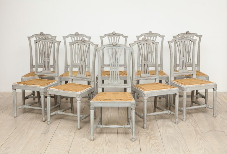 18th Century Gustavian Dining Chairs, Set of 10, Swedish, circa 1790 For Sale 7