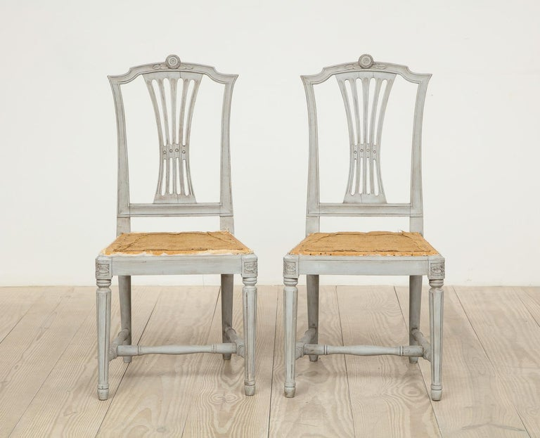 18th Century Gustavian Dining Chairs, Set of 10, Swedish, circa 1790 For Sale 8