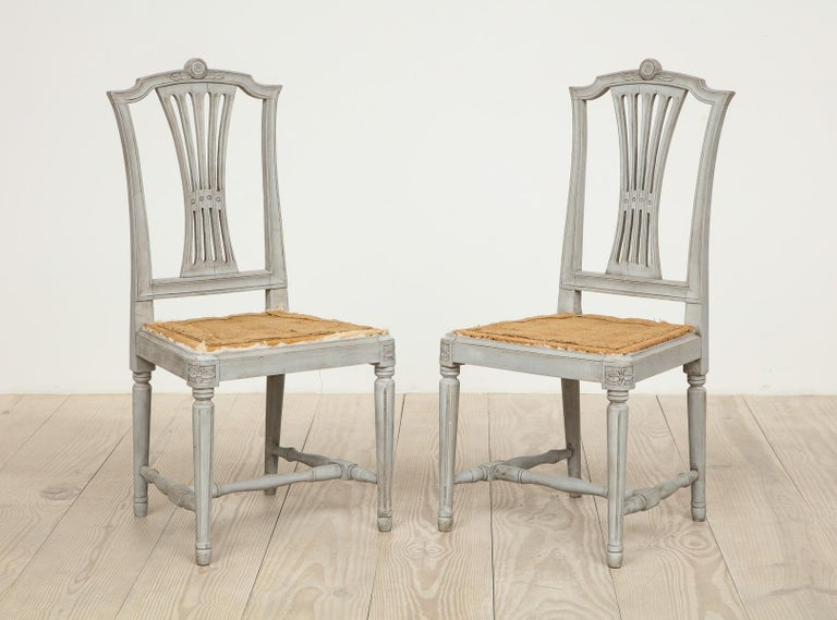 18th Century Gustavian Dining Chairs, Set of 10, Swedish, circa 1790 For Sale 9