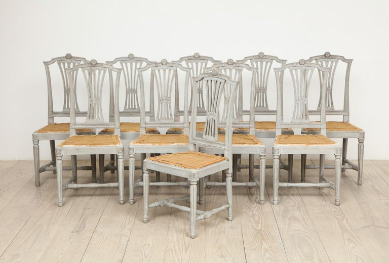 18th Century Gustavian Dining Chairs, Set of 10, Swedish, circa 1790 For Sale 10