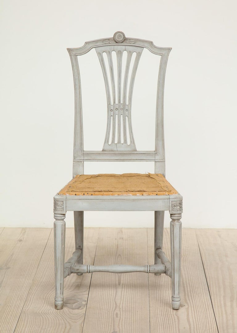 Hand-Carved 18th Century Gustavian Dining Chairs, Set of 10, Swedish, circa 1790 For Sale