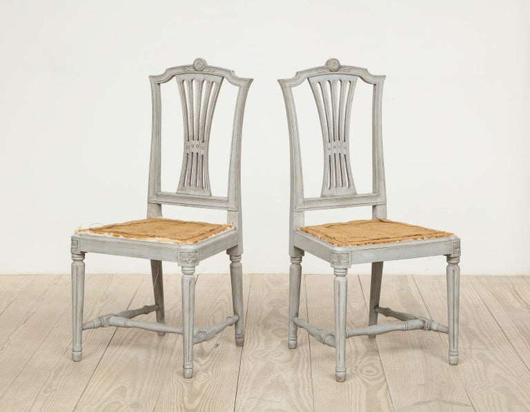 Wood 18th Century Gustavian Dining Chairs, Set of 10, Swedish, circa 1790 For Sale