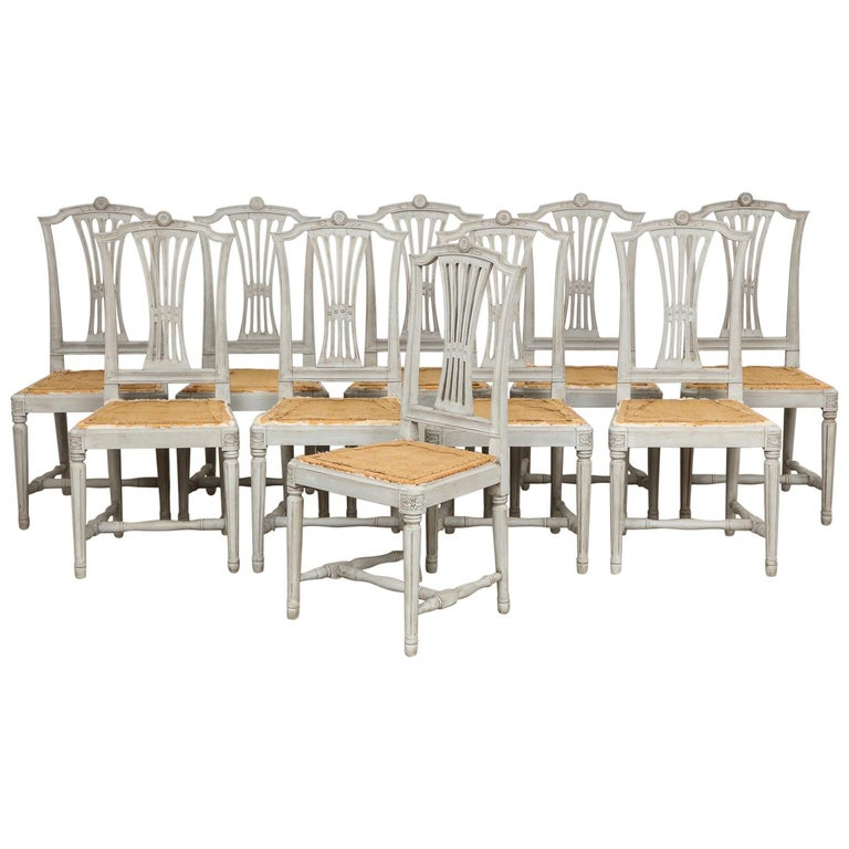 18th Century Gustavian Dining Chairs, Set of 10, Swedish, circa 1790 For Sale