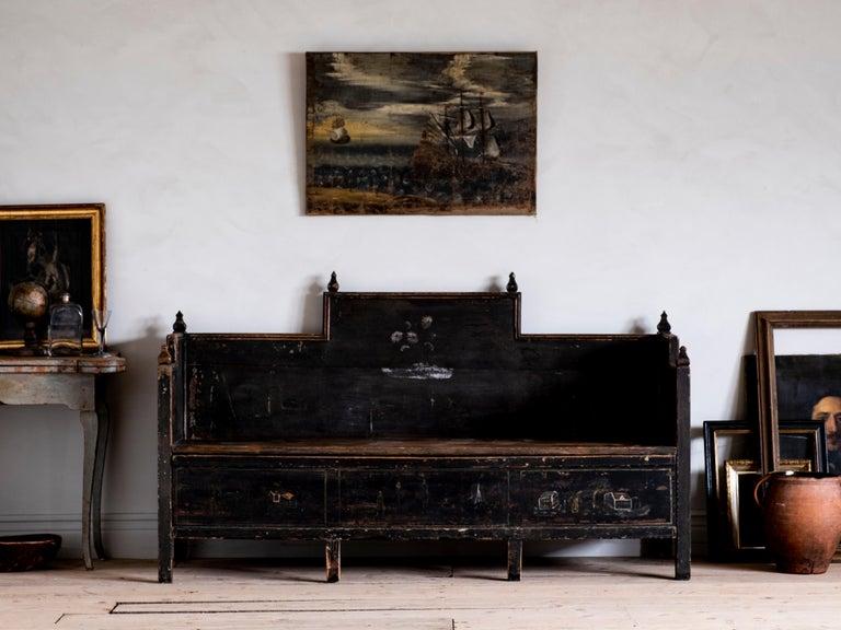 18th Century Gustavian Folk Art Sofa In Good Condition In Helsingborg, SE
