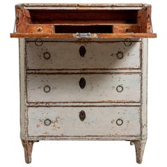 18th Century Gustavian Painted Four-Drawer Commode with a Concealed Bureau