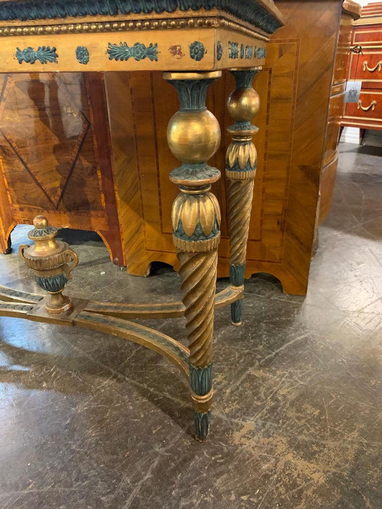 Carved 18th Century Gustavian Parcel-Gilt Console Table For Sale