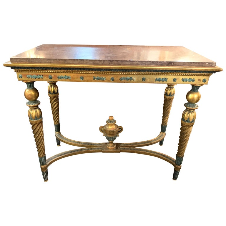 18th Century Gustavian Parcel-Gilt Console Table For Sale