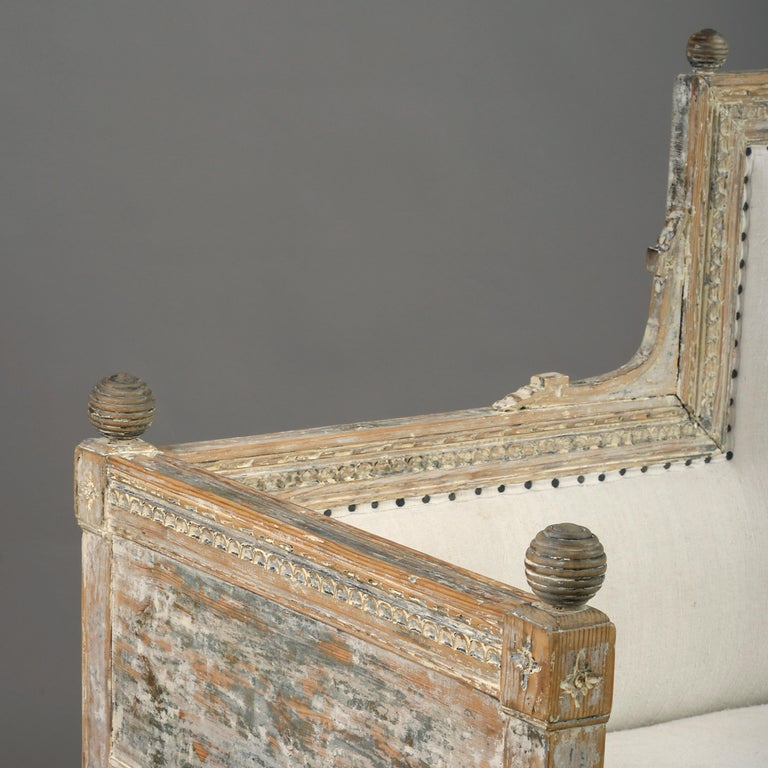 Hand-Crafted 18th Century Gustavian Period Painted Sofa For Sale