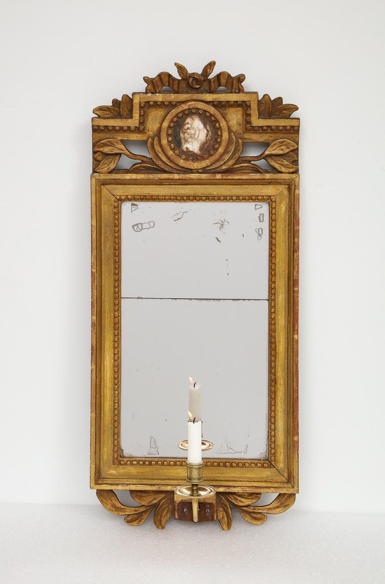 18th Century Gustavian Single Arm Candle Sconce Mirror Center Cameo, Swedish For Sale 4