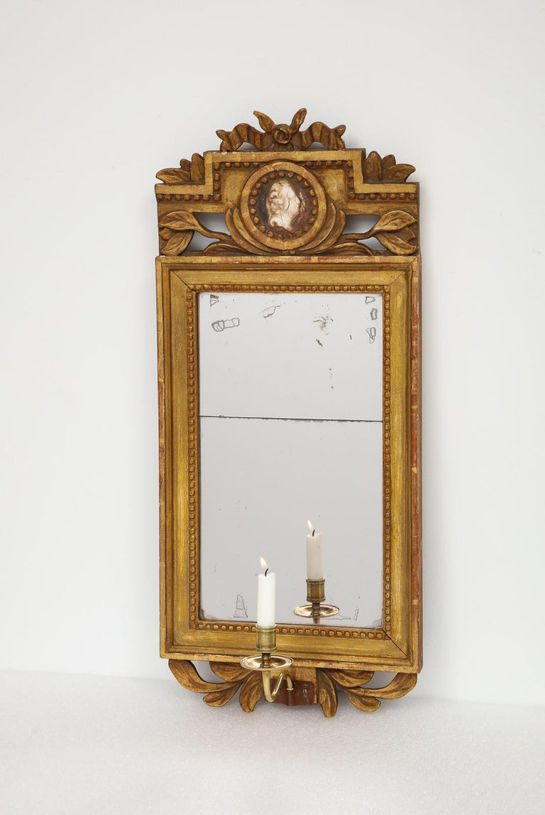 18th Century Gustavian Single Arm Candle Sconce Mirror Center Cameo, Swedish For Sale 6