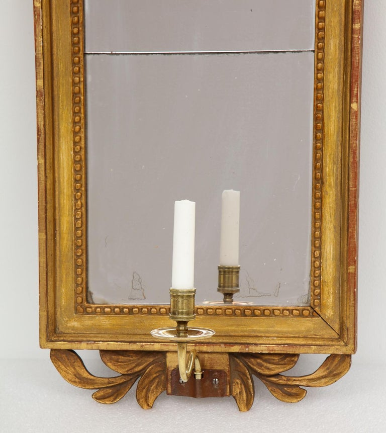 Hand-Carved 18th Century Gustavian Single Arm Candle Sconce Mirror Center Cameo, Swedish For Sale