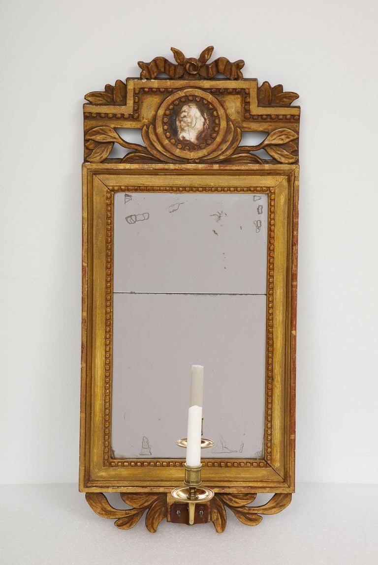 18th Century and Earlier 18th Century Gustavian Single Arm Candle Sconce Mirror Center Cameo, Swedish For Sale