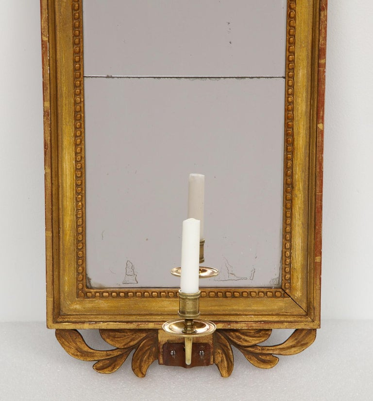 18th Century Gustavian Single Arm Candle Sconce Mirror Center Cameo, Swedish For Sale 1